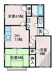 神奈川県相模原市中央区高根1丁目の賃貸アパートの間取り