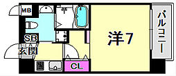 JR東海道・山陽本線 三ノ宮駅 徒歩5分の賃貸マンション 10階1Kの間取り