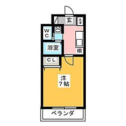A-City柴田 4階1Kの間取り