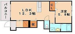 ベルエキップエム飯塚[1階]の間取り