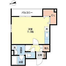 エグレット箱崎 1階ワンルームの間取り