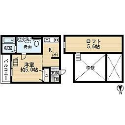 兵庫県尼崎市西本町8丁目の賃貸アパートの間取り