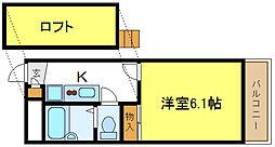 平野市町マンション 3階1Kの間取り
