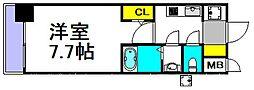 S-RESIDENCE三国 11階1Kの間取り