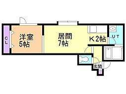シティリバーII 1階1DKの間取り