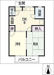コーポ大賀里[2階]の間取り