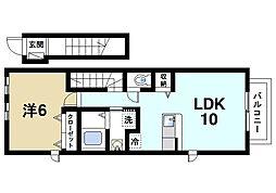 JR桜井線 櫟本駅 徒歩13分の賃貸アパート 2階1LDKの間取り