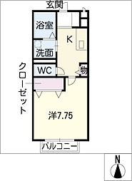 メイユール B棟 2階1Kの間取り