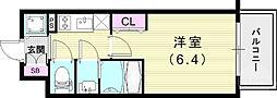 エスリード神戸兵庫駅アクアヴィラ 4階1Kの間取り
