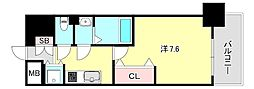 Luxe神戸WEST 10階1Kの間取り
