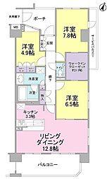 静岡県藤枝市前島1丁目の賃貸マンションの間取り