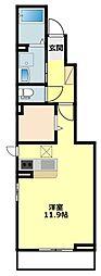 JR東海道本線 幸田駅 徒歩12分の賃貸アパート 1階1Kの間取り