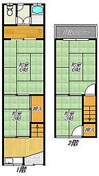 [テラスハウス] 大阪府東大阪市友井3丁目 の賃貸【大阪府 / 東大阪市】の間取り