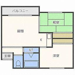 北海道札幌市東区北三十七条東27丁目の賃貸アパートの間取り