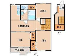 和歌山県橋本市橋谷の賃貸アパートの間取り