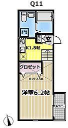 クリエイティブ テラス横浜西谷 1階ワンルームの間取り