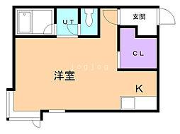 コットンハウス22 2階1Kの間取り