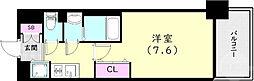 神戸市西神・山手線 上沢駅 徒歩3分の賃貸マンション 6階1Kの間取り