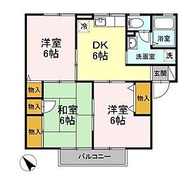 JR予讃線 宇多津駅 徒歩8分の賃貸アパート 2階3DKの間取り