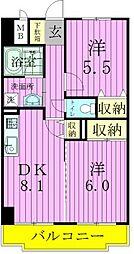 エクセラン東松戸[507号室]の間取り