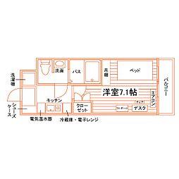JR越後線 内野駅 徒歩4分の賃貸マンション 4階1Kの間取り