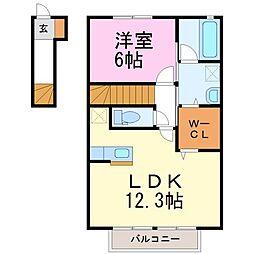 栃木県真岡市上高間木3丁目の賃貸アパートの間取り