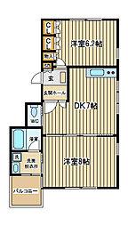 東京都府中市清水が丘2丁目の賃貸マンションの間取り