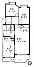 ラソパール東戸塚[105号室]の間取り