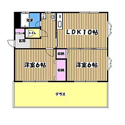 東京都あきる野市三内の賃貸マンションの間取り