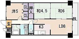 タウンコート咲久良[4階]の間取り