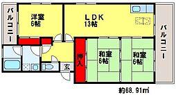 コーポ東大利[4階]の間取り
