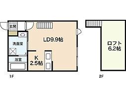 広島電鉄6系統 江波駅 徒歩10分の賃貸アパート 2階1Kの間取り