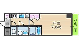 レジュールアッシュ梅田リュクス 7階1Kの間取り