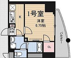 Osaka Metro千日前線 桜川駅 徒歩10分の賃貸マンション 12階1Kの間取り