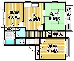 ファミーユ美津[1階]の間取り