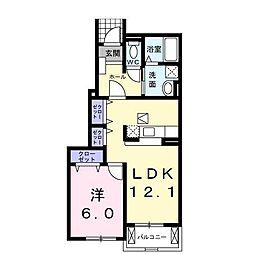 長野県松本市波田の賃貸アパートの間取り