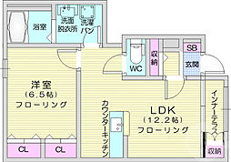 こでまり館 1階1LDKの間取り