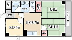 ロイヤルハイム豊里 4階3DKの間取り