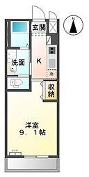 ロココ(アパート) 1階1Kの間取り