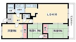 大阪府吹田市五月が丘北の賃貸マンションの間取り