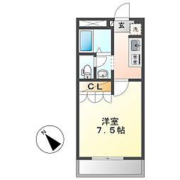 JR瀬戸大橋線 木見駅 徒歩17分の賃貸アパート 2階1Kの間取り