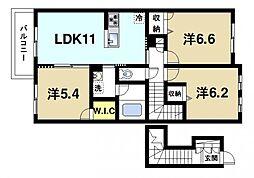 カンポ デ ペスカA 2階3LDKの間取り