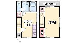 四郷町メゾネット 2階1LDKの間取り