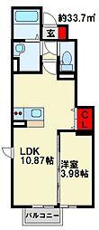 ジェントル篠崎 1階1LDKの間取り