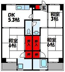 福岡県古賀市花見東3丁目の賃貸マンションの間取り