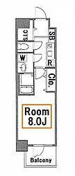 新築 トラディス本所III 2階1Kの間取り