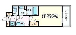 Osaka Metro谷町線 天満橋駅 徒歩5分の賃貸マンション 2階1Kの間取り
