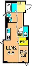 レジデンス泰地 1階1LDKの間取り