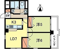 東京都武蔵野市境1丁目の賃貸マンションの間取り
