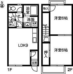 [テラスハウス] 愛知県小牧市大字久保一色 の賃貸【/】の間取り